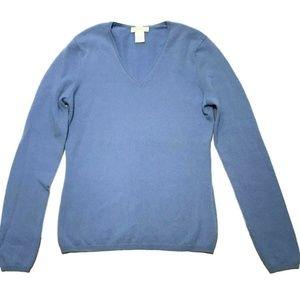 Tweeds 100% Blue Cashmere Sweater Pullover V-Neck